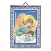 """Icona in legno con cornice azzurra """"Angelo custode con ali rosa"""" - dimensioni 14x10 cm"""