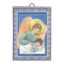 """Copertina di 'Icona in legno con cornice azzurra """"Angelo custode con ali rosa"""" - dimensioni 14x10 cm'"""