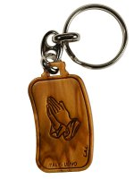 Portachiavi in legno ulivo Padre Nostro e mani giunte