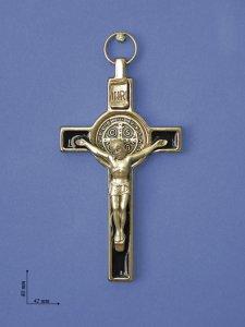"""Copertina di 'Croce in metallo """"San Benedetto"""" su sfondo nero - altezza 8 cm'"""