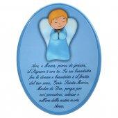 """Icona ovale azzurra """"Ave Maria"""" per bambini - dimensioni 15x21 cm"""