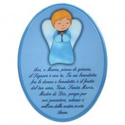 """Copertina di 'Icona ovale azzurra """"Ave Maria"""" per bambini - dimensioni 15x21 cm'"""