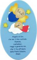Pala ovale azzurra Angelo di Dio 23x14 cm