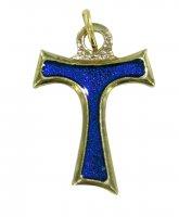 Croce tau metallo dorato con smalto blu - cm 2