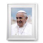 """Quadro """"Papa Francesco"""" con passe-partout e cornice minimal - dimensioni 53x43 cm"""