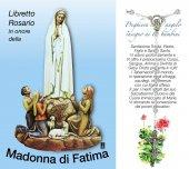 Libretto Rosario con immagine della Madonna di Fatima e coroncina