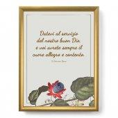 """Quadro con citazione """"Datevi al servizio"""" su cornice dorata - dimensioni 44x34 cm - S. Giovanni Bosco"""