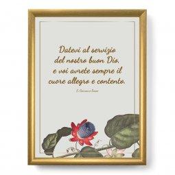 """Copertina di 'Quadro con citazione """"Datevi al servizio"""" su cornice dorata - dimensioni 44x34 cm'"""