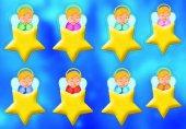 Foglio adesivo fluorescente angeli e stelle