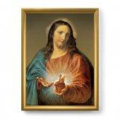 """Quadro """"Sacro Cuore di Gesù"""" con lamina oro e cornice dorata - dimensioni 44x34 cm - Pompeo Batoni"""