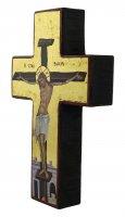 Immagine di 'Croce icona Cristo morente, produzione greca in legno e sfondo foglia oro - 14,5 x 9,5 cm'