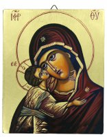 IconaVolto Tenerezza dipinta a mano su legno con fondo orocm 13x16