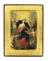 Icona Madonna che scioglie i nodi, produzione greca su legno - 18 x 14 cm