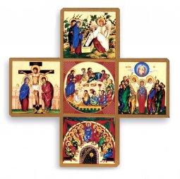 Copertina di 'Croce Salvezza stampa su legno con spiegazione - 9 x 9 cm'