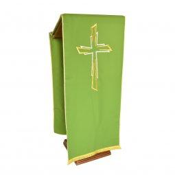 Copertina di 'Coprileggio verde con ricamo a croce oro e argento'