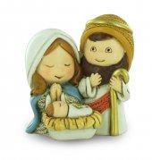 Natività in resina colorata, decorazione natalizia/soprammobile, piccola statuina della Sacra Famiglia, 3,5 x 4 x 2,5 cm