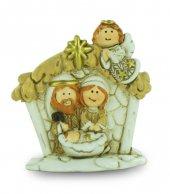Natività in resina colorata, decorazione natalizia/soprammobile, Sacra Famiglia con capanna e angelo, 4,5 x 5 cm