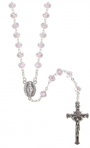 Copertina di 'Rosario cristallo sfaccettato trasparente con grani mm 6 color rosa legatura in argento 925'