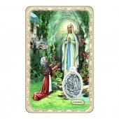 """Card """"Madonna di Lourdes"""" con preghiera e medaglia - (10 pezzi)"""