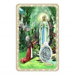 """Copertina di 'Card """"Madonna di Lourdes"""" con preghiera e medaglia - (10 pezzi)'"""