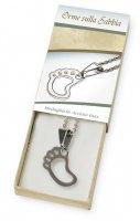 Confezione con catenina argentata e medaglietta con piedino in acciaio inox