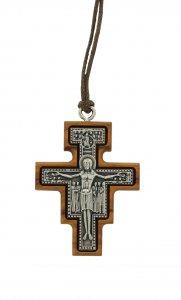 Copertina di 'Croce San Damiano in metallo ossidato su legno ulivo con cordone - 4 x 3 cm'