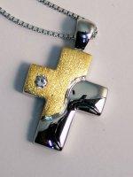 Catenina con croce d'argento e d'oro stilizzata con zircone di  su LibreriadelSanto.it