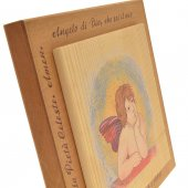 """Immagine di 'Quadretto in legno """"Angioletto e preghiera"""" - dimensioni 14x14 cm'"""