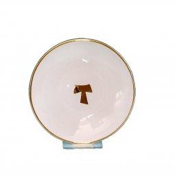 """Copertina di 'Patena in ceramica simbolo TAU  """"Modello Bianco Oro"""" - 15 cm'"""
