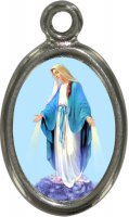 Medaglia Madonna Miracolosa in metallo nichelato e resina - 1,5 cm