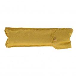 Copertina di 'Asperges portatile in ottone dorato con custodia in raso giallo damascato - lunghezza 14 cm'
