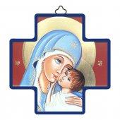 """Croce in legno con lamina oro dettaglio """"Madonna col Bambino"""" - altezza 12 cm"""