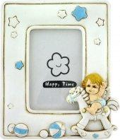 Portafoto in resina angelo dondolo azzurro di  su LibreriadelSanto.it