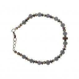 Copertina di 'Bracciale religioso color grigio e silver in vetro di Murano'