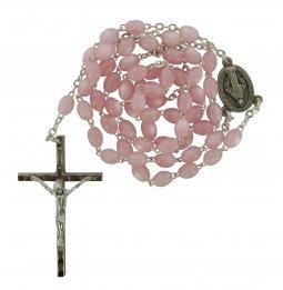 Copertina di 'Rosario imitazione madreperla ovale mm 4 legatura ottone argentato -  rosa'