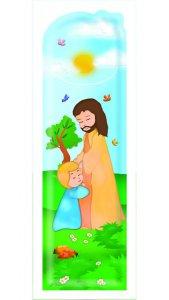 """Copertina di 'Segnalibro sagomato """"Il bambino e Gesù"""" - dimensioni 15x4,5 cm'"""