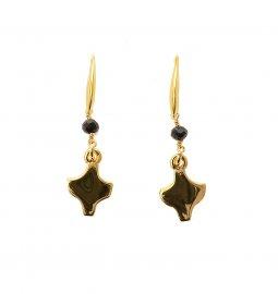 Copertina di 'Orecchini in metallo dorato con croce pendente e cristallo nero - Linea Fidei'