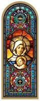 Tavola Madonna con Bambino stampa tipo vetrata su legno - 10 x 27 cm