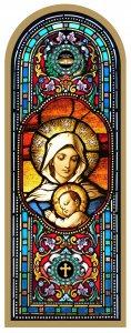 Copertina di 'Tavola Madonna con Bambino stampa tipo vetrata su legno - 10 x 27 cm'