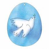Uovo azzurro in PVC da appendere con augurio pasquale - altezza 10 cm