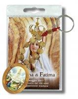 Portachiave decina e medaglia in ulivo Madonna di Fatima con blister e preghiera