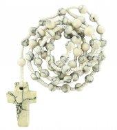 Rosario effetto marmorizzato con grani tondi e croce mm 6 legatura in seta