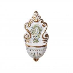 Copertina di 'Acquasantiera in ceramica  cm 12 - Modello Arabesco verde celeste e oro'