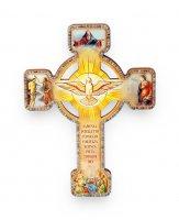 """Croce effetto legno """"Ricordo della Santa Cresima"""" con cartoncino - altezza 13 cm"""