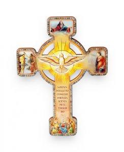 """Copertina di 'Croce effetto legno """"Ricordo della Santa Cresima"""" con cartoncino - altezza 13 cm'"""