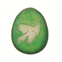 Copertina di 'Magnete verde a forma di uovo con augurio pasquale - dimensioni 6x4,5 cm'