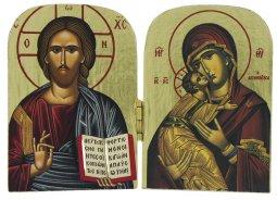 Copertina di 'Dittico stile icona, Cristo Pantocratore e Madonna di Vladimir, produzione greca in legno - 10 x 7 cm'