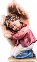 Mano protettrice da poggiare con bambino - Demetz - Deur - Statua in legno dipinta a mano. Altezza pari a 11 cm.