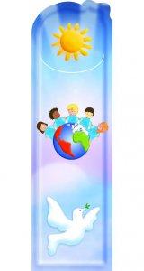 """Copertina di 'Segnalibro sagomato """"La pace nel mondo"""" - dimensioni 15x4,5 cm'"""