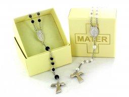 Copertina di 'Rosario bianco con perline e croce tau - legatura argento'